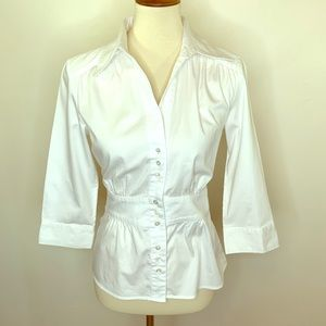 Ann Taylor Fitted 3/4 Sleeve Button Down Blouse 8